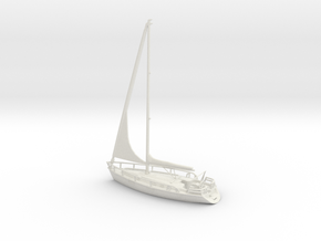 SailBoat 02_reefed sails. HO Scale 1:87  in White Natural Versatile Plastic