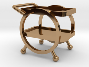 1:48 Deco Bar Cart in Polished Brass