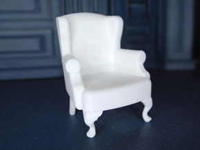 1:24 Queen Anne Wingback Chair in White Natural Versatile Plastic