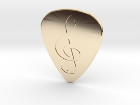 Treble Clef Plectrum - 1.5mm in 14K Yellow Gold