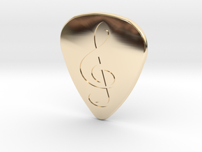 Treble Clef Plectrum - 2mm in 14K Yellow Gold