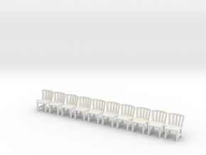 Simple Chairs X10 OO Scale in White Natural Versatile Plastic
