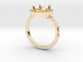 Engagement ring with halo in 14K Yellow Gold