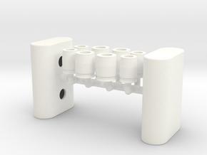 1/12 Oval Body Turbo Muffler in White Processed Versatile Plastic