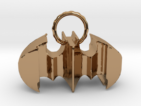 Batman keychain (or necklace ) in Polished Brass