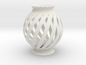 Lamp Ball Twist Spiral Small Scale in White Natural Versatile Plastic