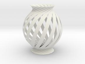 Lamp Ball Twist Spiral Small Scale in White Natural Versatile Plastic