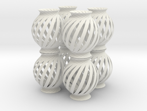 Lamp Ball Twist Spiral 8 Small Scale in White Strong & Flexible