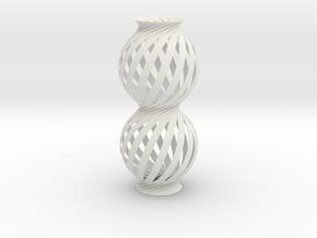 Lamp Ball Twist Spiral Column Small Scale in White Natural Versatile Plastic