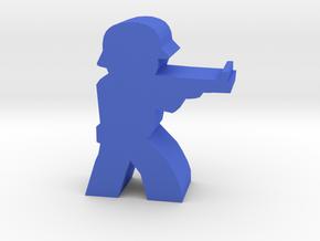 Game Piece, WW2 German Rifleman in Blue Processed Versatile Plastic