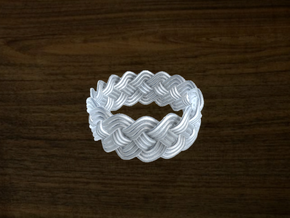 Turk's Head Knot Ring 4 Part X 16 Bight - Size 11. in White Strong & Flexible