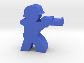 Game Piece, WW2 German Sniper in Blue Processed Versatile Plastic