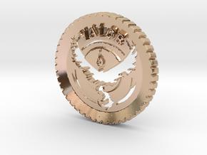 Pokemon Go Team Valor Challenge Coin in 14k Rose Gold Plated Brass