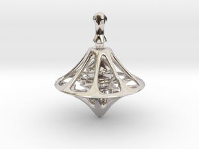 MEDIEV Spinning Top in Rhodium Plated Brass