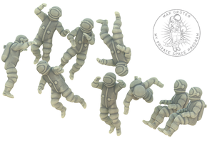 Generic Astronauts / Free Floating  in White Natural Versatile Plastic: 1:87