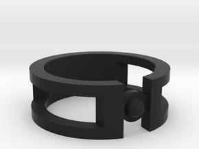 Sphere ring in Black Natural Versatile Plastic