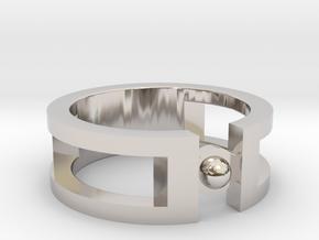Sphere ring in Platinum