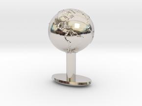 Earth Cufflink in Rhodium Plated Brass