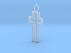 Hollow Cross Keychain in Smoothest Fine Detail Plastic
