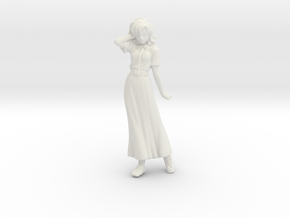 1/24 or G Scale Female Racing Staff Figure in White Natural Versatile Plastic