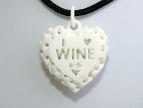 Heart Pendant I Love Wine in White Strong & Flexible