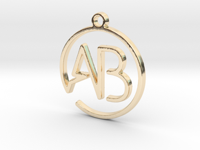 A & B Monogram Pendant in 14k Gold Plated