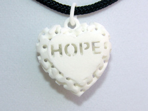 Heart Pendant Lattice Hope in White Natural Versatile Plastic