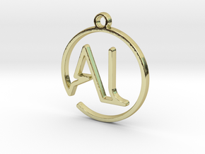 A & L Monogram Pendant in 18k Gold Plated