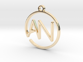 A & N Monogram Pendant in 14k Gold Plated Brass