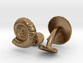 Ammonite Cufflinks in Natural Brass