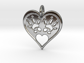 Rat Foot Print Heart Pendant in Polished Silver