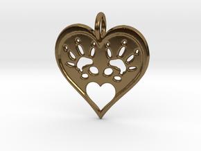 Rat Foot Print Heart Pendant in Polished Bronze