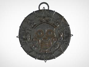 The gold of Cortez - Pirate's medallion in Polished Bronze Steel