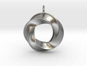 Mobius Pendant in Natural Silver