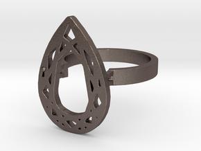TEAR DIAMOND RING in Polished Bronzed Silver Steel