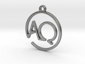 A & Q Monogram Pendant in Natural Silver