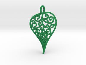 Fine Twisted Leaf Pendant in Green Processed Versatile Plastic