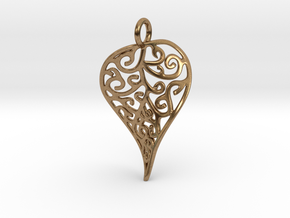 Fine Twisted Leaf Pendant in Natural Brass