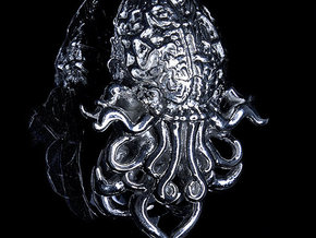 Cthulhu Pendant in Silver and Steel in Polished Silver