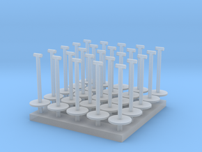 MOF Stanchions (25) HO 72:1 Scale in Smooth Fine Detail Plastic