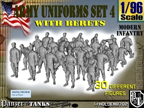 1-96 Army Modern Uniforms Set4 in Smooth Fine Detail Plastic