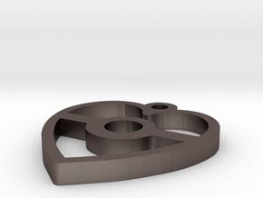 Pokeball Heart Pendant in Polished Bronzed Silver Steel
