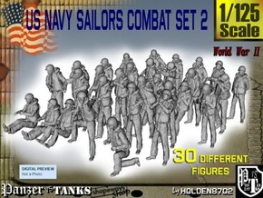 1/125 US Navy Sailors Combat SET 2 in Smooth Fine Detail Plastic