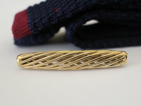Skeleton Helix Tie Clip in Polished Brass