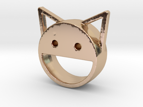 happy cat in 14k Rose Gold Plated Brass