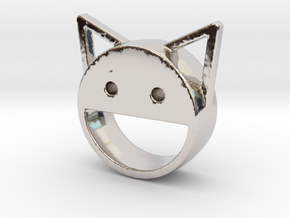 happy cat in Rhodium Plated Brass