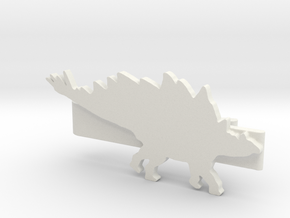 Stegosaurus Tie Clip in White Natural Versatile Plastic