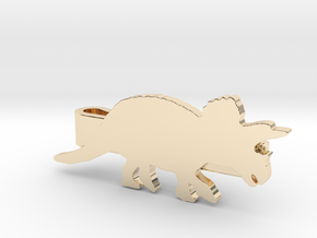 Triceratops Tie Clip in 14K Yellow Gold