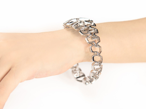 Honeyfull Duo, Organic Bracelet, Medium Size, d=65 in Polished Silver: Medium