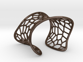 Voronoi Cuff Bracelet in Polished Bronze Steel